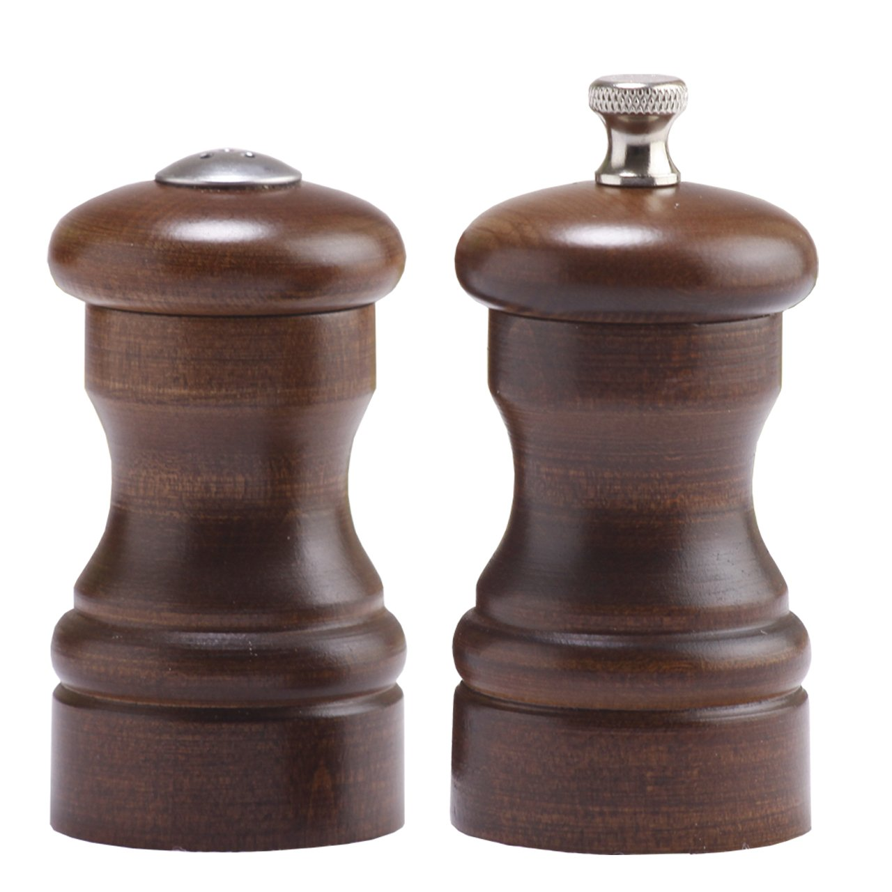 Chef Specialties 04100 4 Inch - 10cm CapstanWalnut Pepper Mill Salt Shaker Set