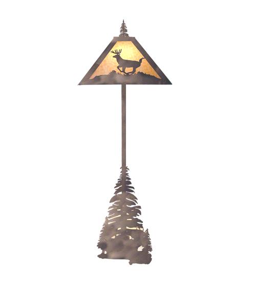 Meyda Tiffany 13260 74 Inch H Deer And Pine Floor Lamp
