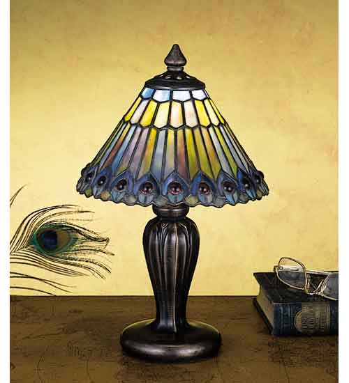 Meyda Tiffany 27560 12 Inch H Tiffany Jeweled Peacock Mini Lamp