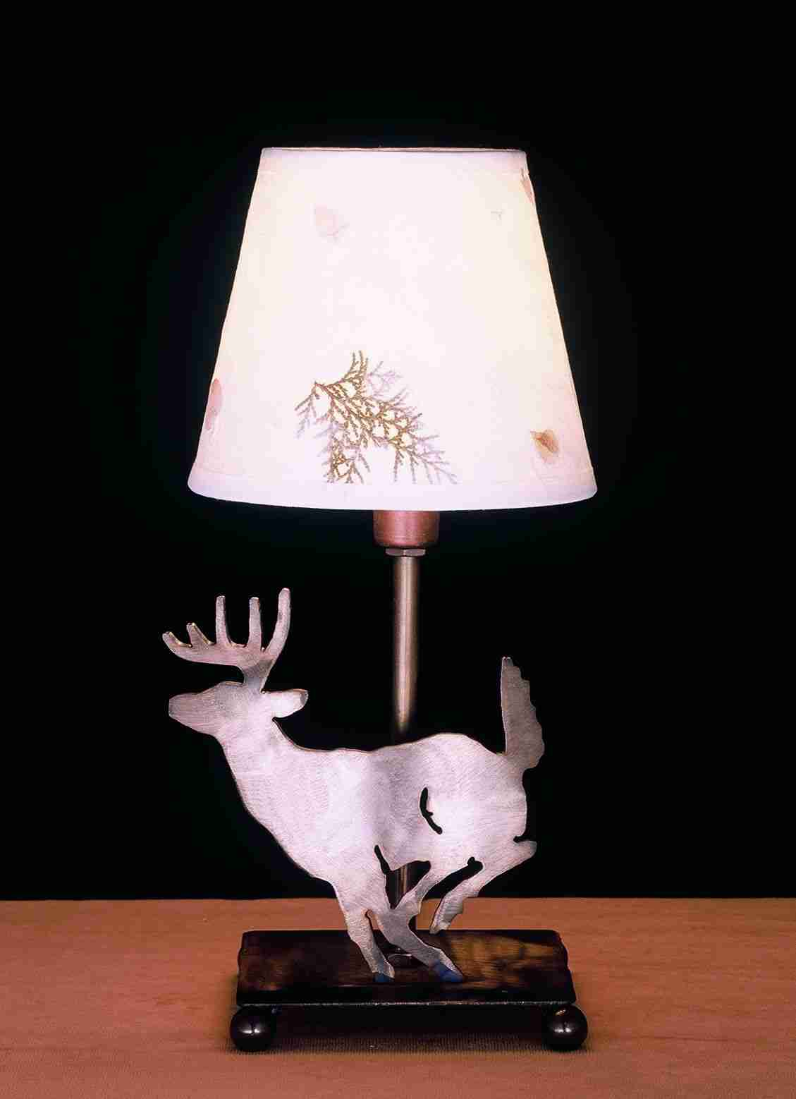 Meyda Tiffany 38771 13 Inch H Deer Wth Foliage Paper Accent Lamp