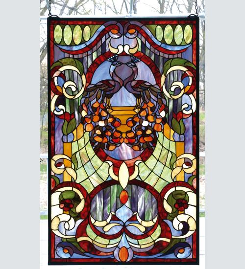 Meyda Tiffany 79983 22 Inch W 36 Inch H Twin Peacock Victorian Estate Window