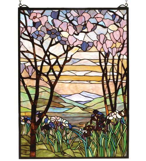 Meyda Tiffany 98589 22 Inch W X 30 Inch H Tiffany Magnolia Window