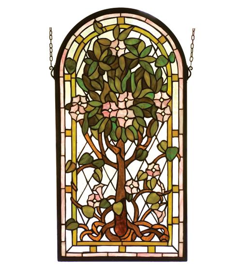 Meyda Tiffany 99049 15 Inch W 29 Inch H Arched Tree Of Life Window