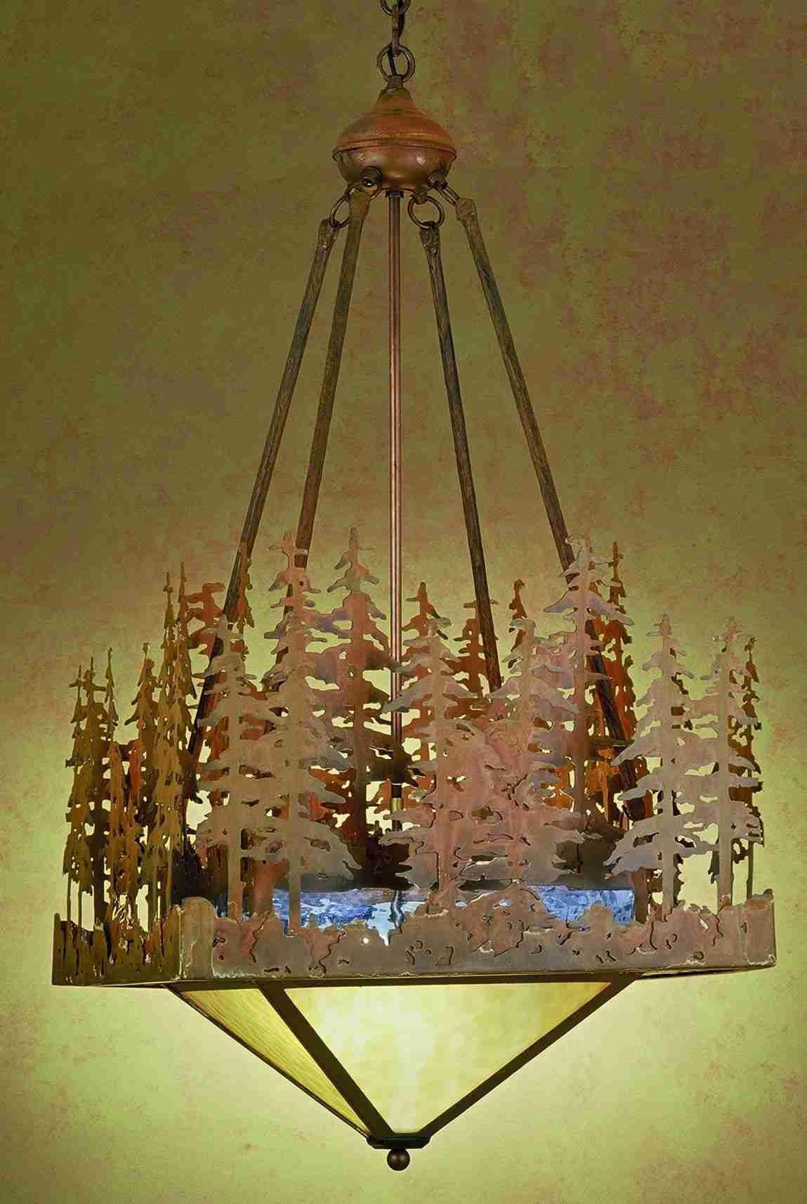 Meyda Tiffany 32802 20 Inch Sq Pine Lake Inverted Pendant