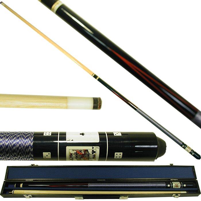 """Poker 40-549BL 58"""" Royal Flush Poker Pool Stick - Black"""