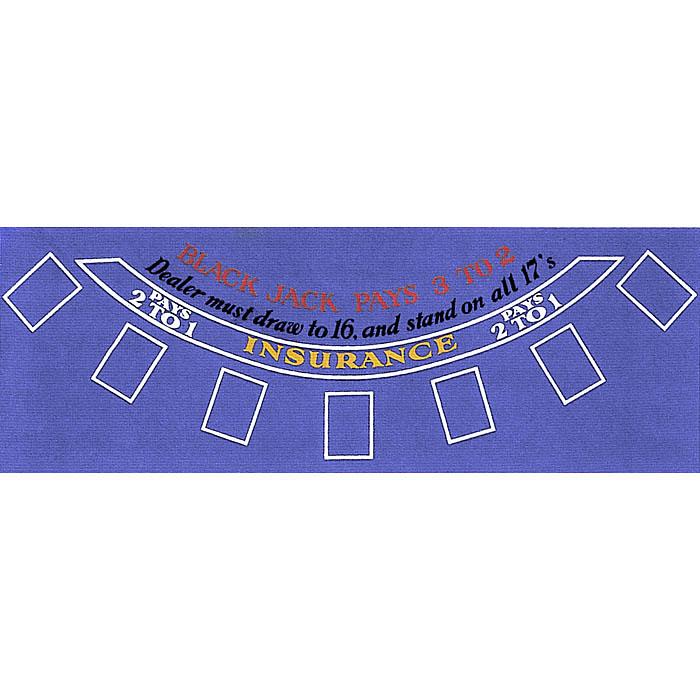 Blackjack Layout 36 x 72 inch Blue Felt POKER269