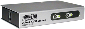 TRIPPLITE B022-002-KT-R 2-Port KVM Switch with 2 Cables