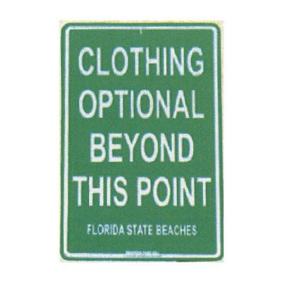 Clothing Optional - Seaweed Surf Co SF11 12X18 Aluminum Sign Clothing Optional Florida