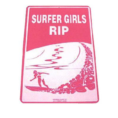 Seaweed Surf Co SF20 12X18 Aluminum Sign Surfer Girls Rip (Purple)