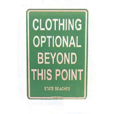 Clothing Optional - Seaweed Surf Co SF60 12X18 Aluminum Sign Clothing Optional State