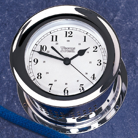 Weems & Plath 220100 Chrome Plated Atlantis Quartz Ships Bell Clock