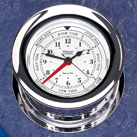 Weems and Plath 220300 Chrome Plated Atlantis Time and Tide Clock