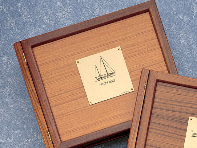 Weems & Plath 299 Teak Log Cover with Sailboat Plate