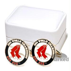 Red Sox Cufflinks - Boston Red Sox MLB Logo'd Special Edition Executive Cufflinks With Jewelry Box By Cuff Links