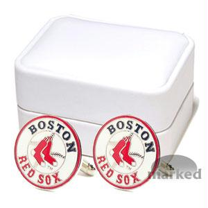 Red Sox Cufflinks - Boston Red Sox MLB Logo'd Executive Cufflinks With Jewelry Box By Cuff Links