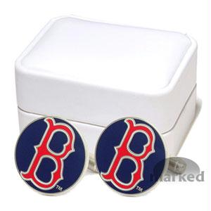 Red Sox Cufflinks - Classic Red Sox MLB Logo'd Executive Cufflinks With Jewelry Box By Cuff Links