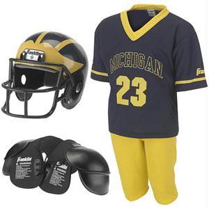 Sports - Michigan Wolverines Youth NCAA Team Helmet And Uniform Set By Franklin Sports Medium
