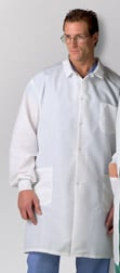 Lab Coats - MEDLINE INDUSTRIES MDT046805L ResiStat Men's Protective Lab Coats - White Large