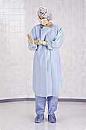 Tie - MEDLINE INDUSTRIES NONTH100B ISO GOWN W THUMB LOOP POLYETHYLEN BULKBULKXIMUM PROTECTION BLUE THUMBLOOP TIES OPEN BACK REGULAR SIZE BULK LATEX FREE PRODUCT -
