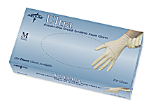 Vinyl Gloves - MEDLINE INDUSTRIES MDS193074H L-GLOVE EXAM ULTRA VINYL PF SMALL MALL AMBIDEXTROUS CHLORINATED TEXTURED 3 MILS OR .08 MM THICKNESS IN PALM ANDFINGERTIPS 9 Inch