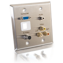 Cables To Go 40964 DOUBLE GANG HD15  3.5mm  S-VIDEO  COMPOSITE VIDEO  STEREO AUDIO and KEYSTONE INSERT WALL PLATE - STAINLESS STEEL