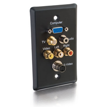 Cables To Go 40967 SINGLE GANG HD15  F-TYPE  3.5mm  S-VIDEO  COMPOSITE VIDEO and STEREO AUDIO WALL PLATE - BLACK