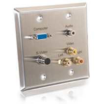 Cables To Go 40968 DOUBLE GANG HD15  3.5mm  S-VIDEO  COMPOSITE VIDEO and STEREO AUDIO WALL PLATE - STAINLESS STEEL