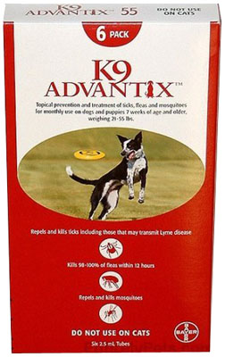 Image of Advantix ADVX-RED-55-4 4 Month Supply of Advantix For Dogs 20-55 Lbs.