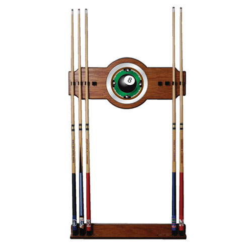 8-Ball Rack em 2 piece Wood and Mirror Wall Cue Rack