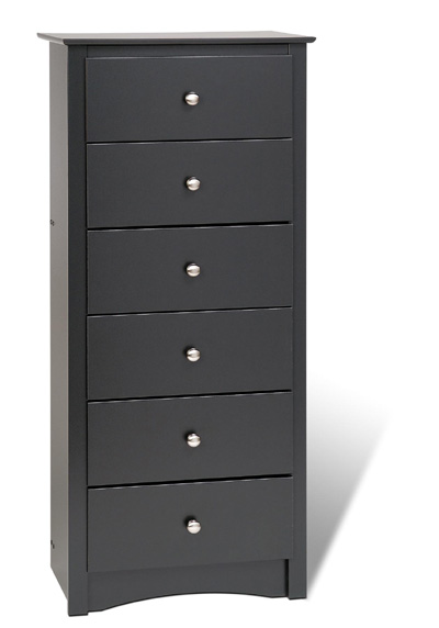 Black Lingerie - Prepac BDC-2354 Black 6 Drawer Lingerie Chest