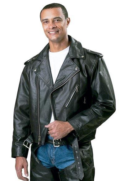 Motorcycle Leather Jackets - Diamond Plate Men's Belted Solid Leather Motorcycle Jacket GFCLMJM