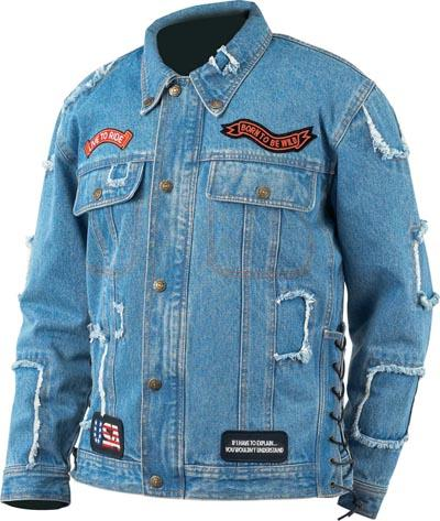 Jacket Patches - Diamond Plate Rag Denim Motorcycle Jacket With Patches GFMCRDJXL