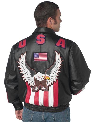 Leather Bomber Jacket - Diamond Plate USA/Eagle Solid Genuine Leather Bomber Jacket GFUSAXL