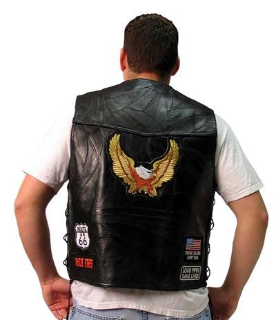 Leather Biker Vest - Diamond Plate Rock Design Genuine Buffalo Leather Biker Black Vest GFVBIKE4X