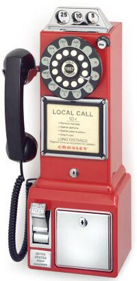Crosley Radio CR56-RE 1950s Classic Pay Phone Red