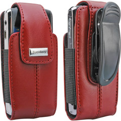 Belt Pouch - Blackberry 82246RIM Blackberry Apple Red Leather Vertical Pouch With Belt Clip For Pearl 8100