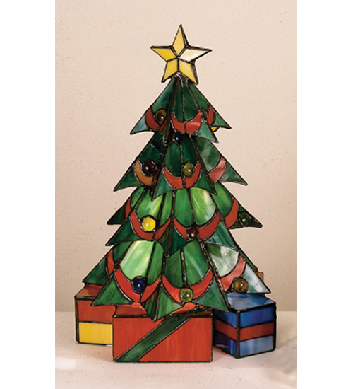 Meyda Tiffany 12961 16 Inch H X 10 Inch W Tiffany Christmas Tree Accent Lamp