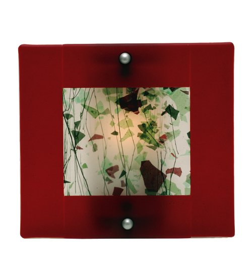 Meyda Tiffany 82358 Fused Glass Flat Panel Green Conf/Red Border