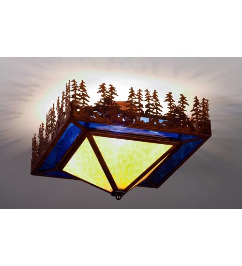 Meyda Tiffany 51505 20 Inch Sq Pine Lake Flushmount