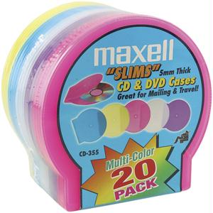 MAXELL 190073 CD/DVD Jewel Cases 20-pk 5mm Slim - Colors 190073