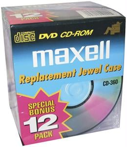 MAXELL 190069 CD/DVD Jewel Cases 10mm Standard- Clear 190069-6 Packs of 12 each