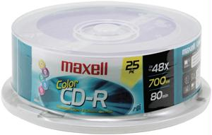 Maxell 648446 80-Minute/700 Mb Cd-Rs - 25-Ct Spindle Colors