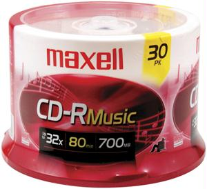 MAXELL 625335 Music CD-R 30-pk spindle 625335