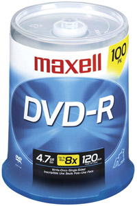 MAXELL 638014 4.7 GB DVD-R 100-ct spindle
