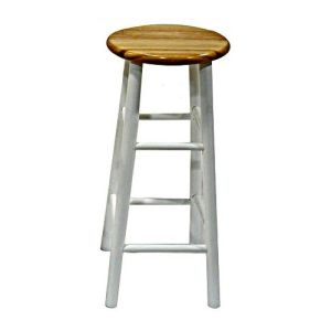 Winsome 53780 Natural & White Beechwood BAR STOOL 30 Inch ASSEM BEVEL SEAT 2 PACK