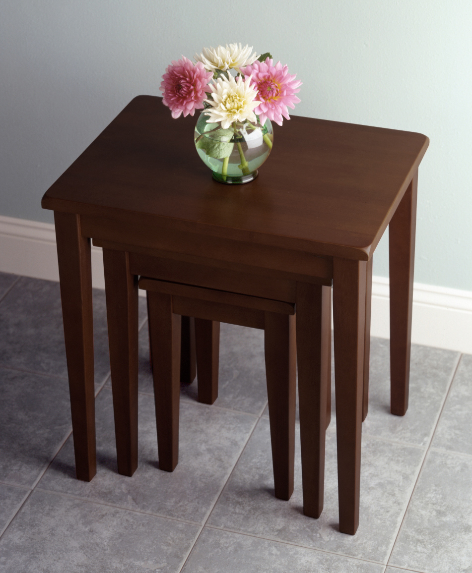 Winsome 94320 Walnut Beechwood TABLE NESTING 3PC