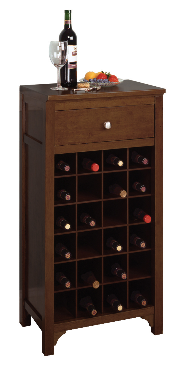 Winsome 94638 Antique Walnut Beechwood WINE CABINET 24 BOTTLES