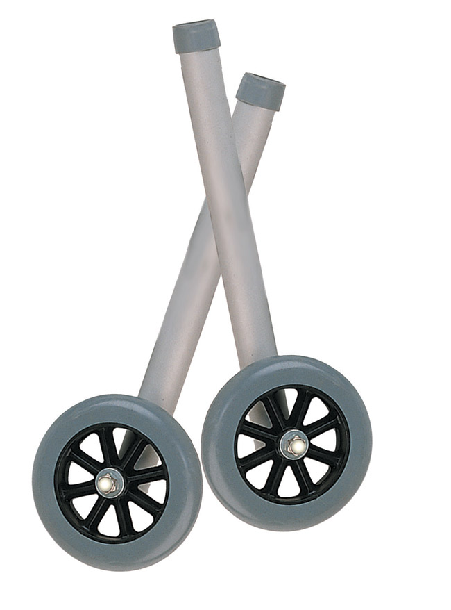 Drive Medical 10109 5 Inch Universal Walker Wheels with Rear Glide Caps