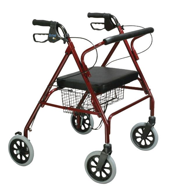 Drive Medical 10215RD-1 Go-Lite Oversized Steel Rollator 4 Wheel Loop Lock Red