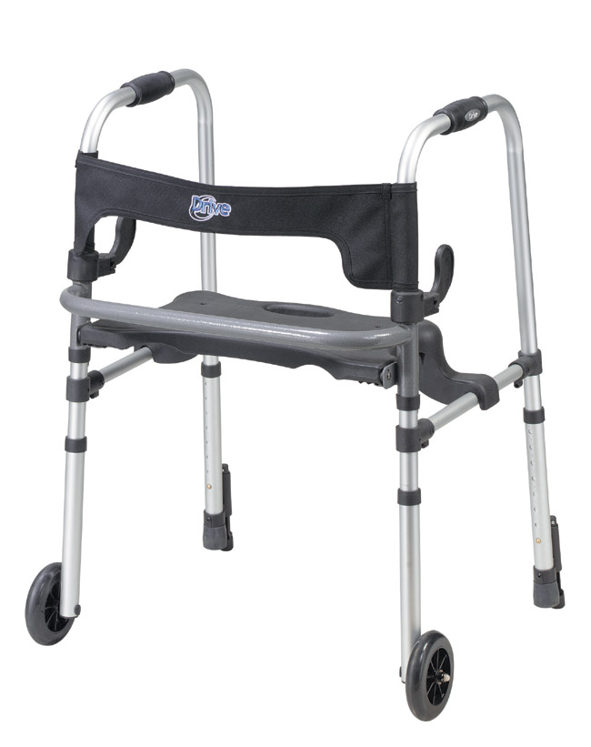 Drive Medical 10233 Clever-Lite LS Walker with Seat and Push Down Brakes